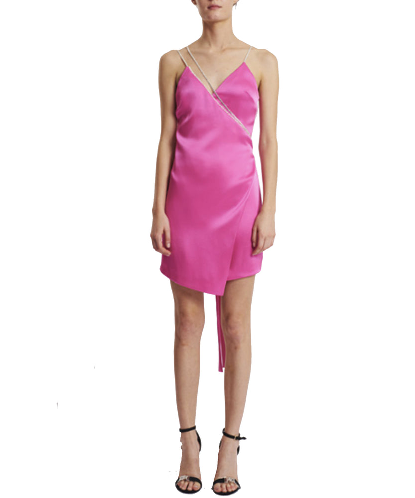 David Koma Women Pink Silk Crystal Chain-Trim Wrap Mini Dress