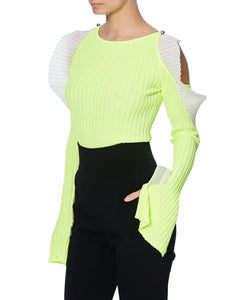 NEON JUMPER WITH RUFFLES - SIDE VIEW - THE BOX BOUTIQUE