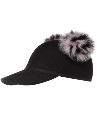 SASS FUR PINK DOUBLE POM CAP -FONT VIEW - THE BOX BOUTIQUE