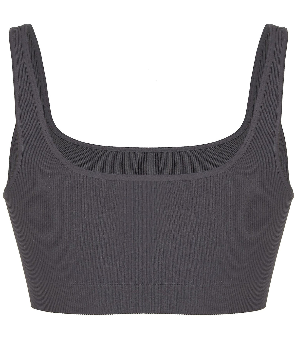SEAL GREY RIBBED BRA-FRONT VIEW-THE BOX BOUTIQUE