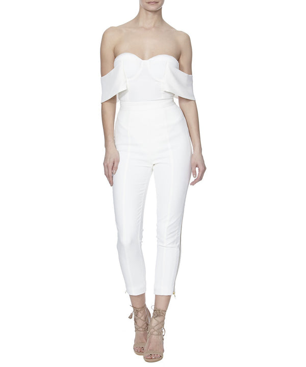 ALTHEA PANTS IN WHITE - FRONT VIEW - THE BOX BOUTIQUE