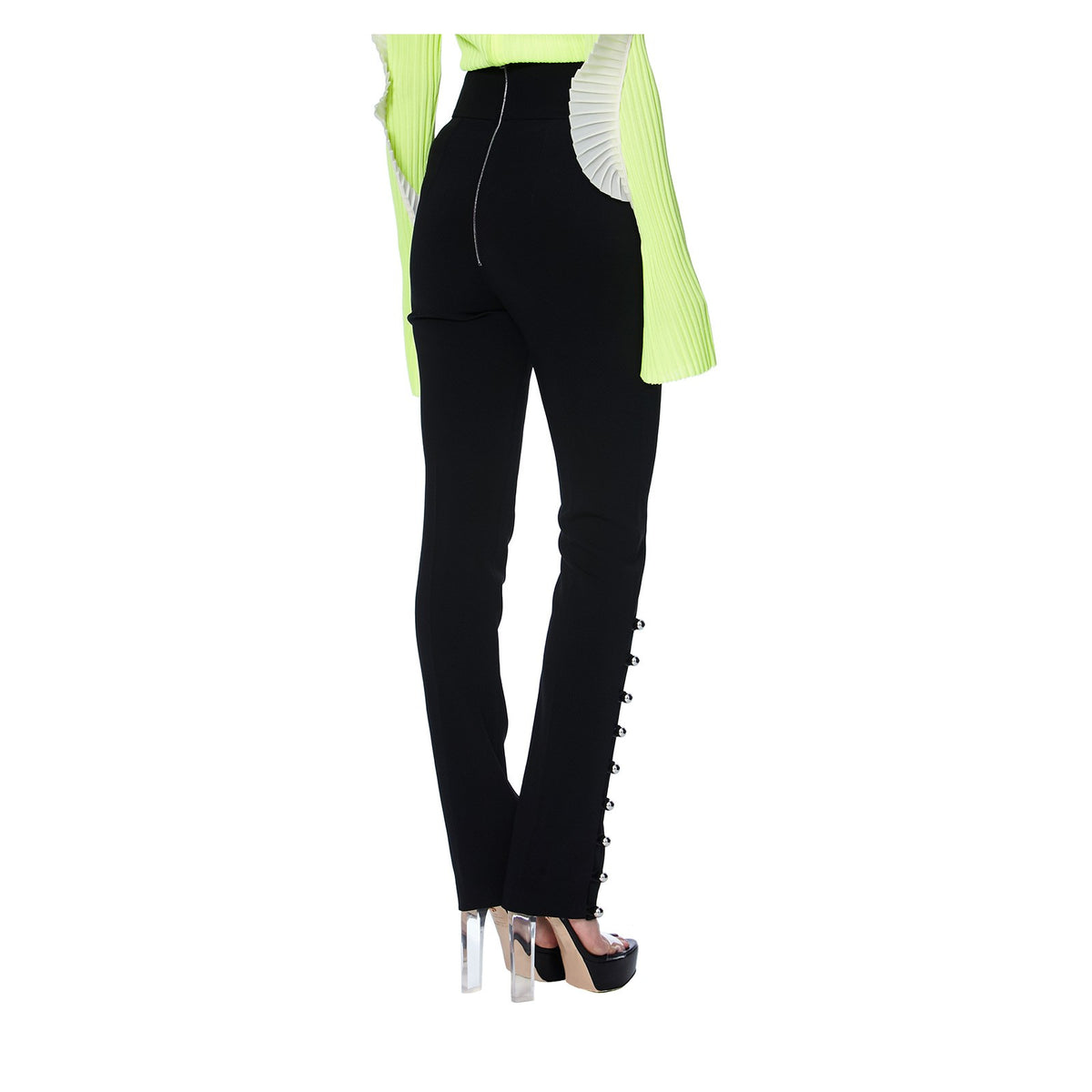 CADY HIGH-WAISTED TROUSERS -BACK VIEW- THE BOX BOUTIQUE