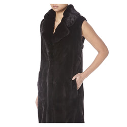 TWIX LONG BLACK MINK SLEEVELESS FUR-SIDE VIEW-THE BOX BOUTIQUE