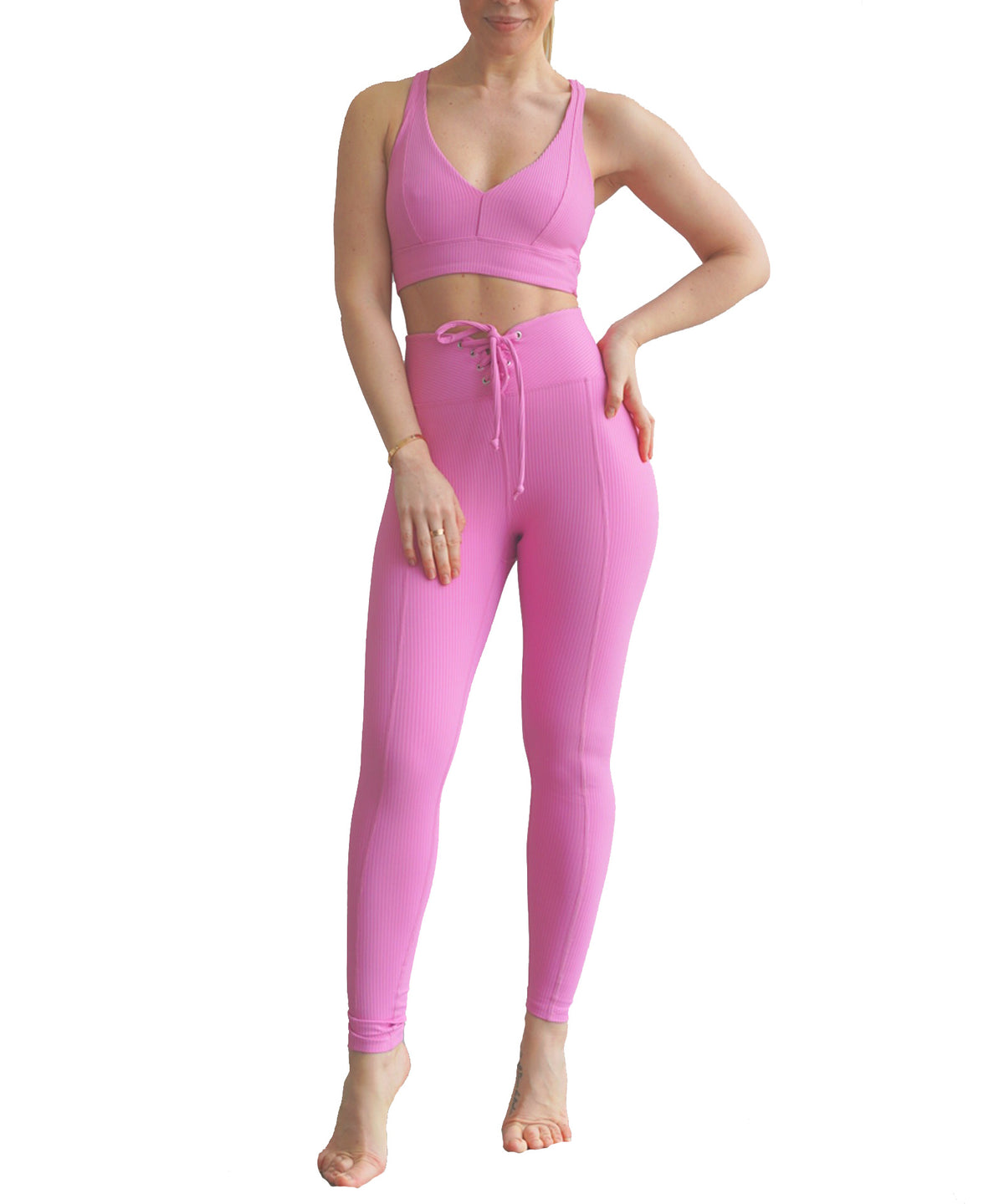 Year of Ours Ribbed Football Leggings True Pink