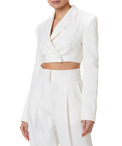 CROPPED DOUBLE BREASTED JACKET OFF WHITE