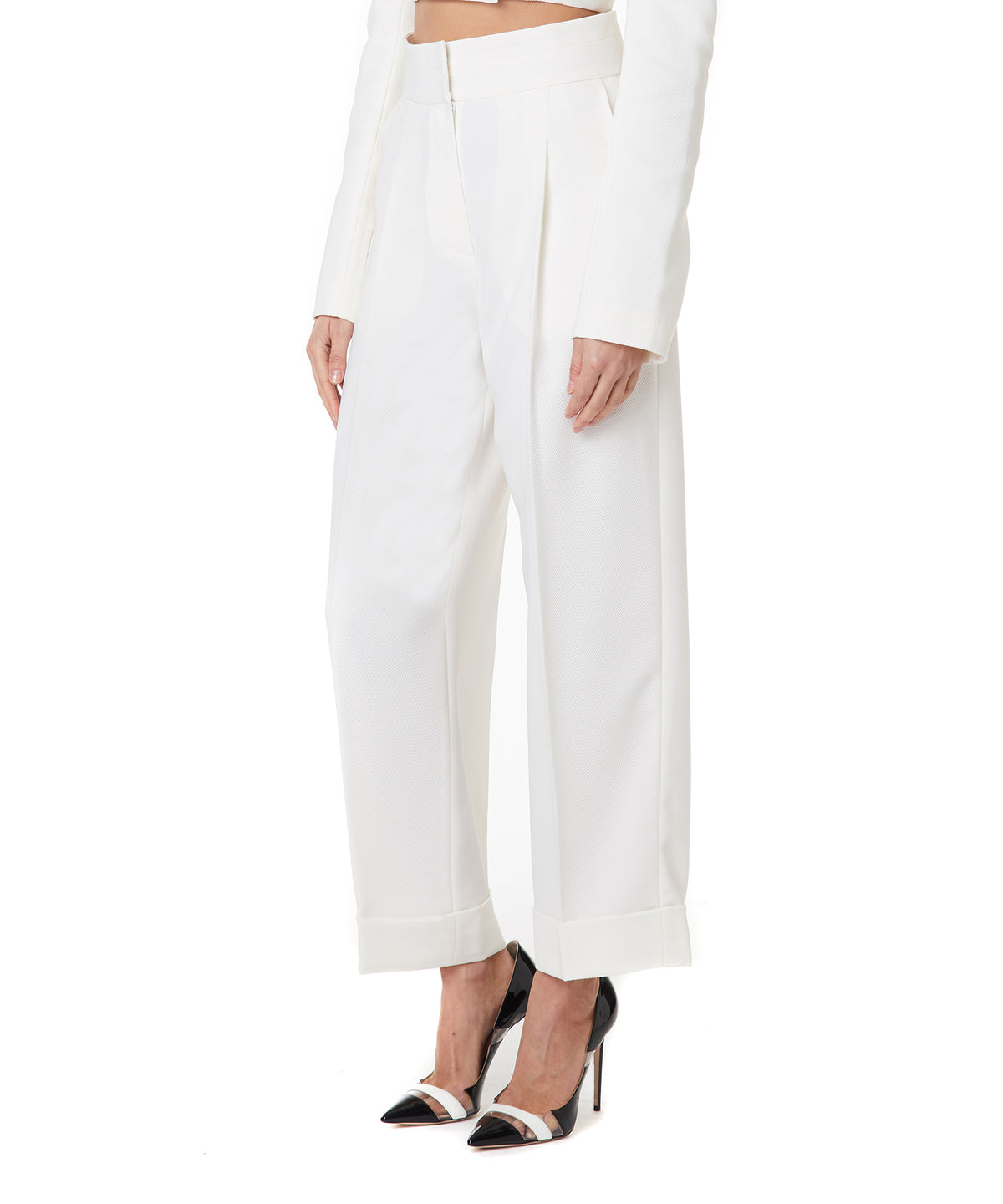Marianna Senchina Waisted Women Milky High Trousers