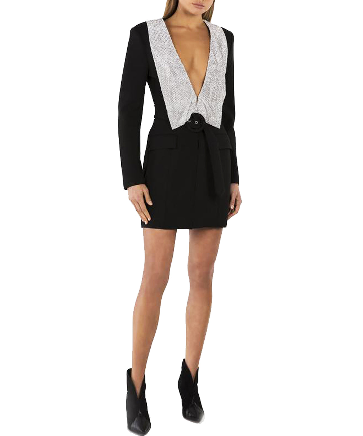 Misha Helen Blazer Dress with Crystal Lapel