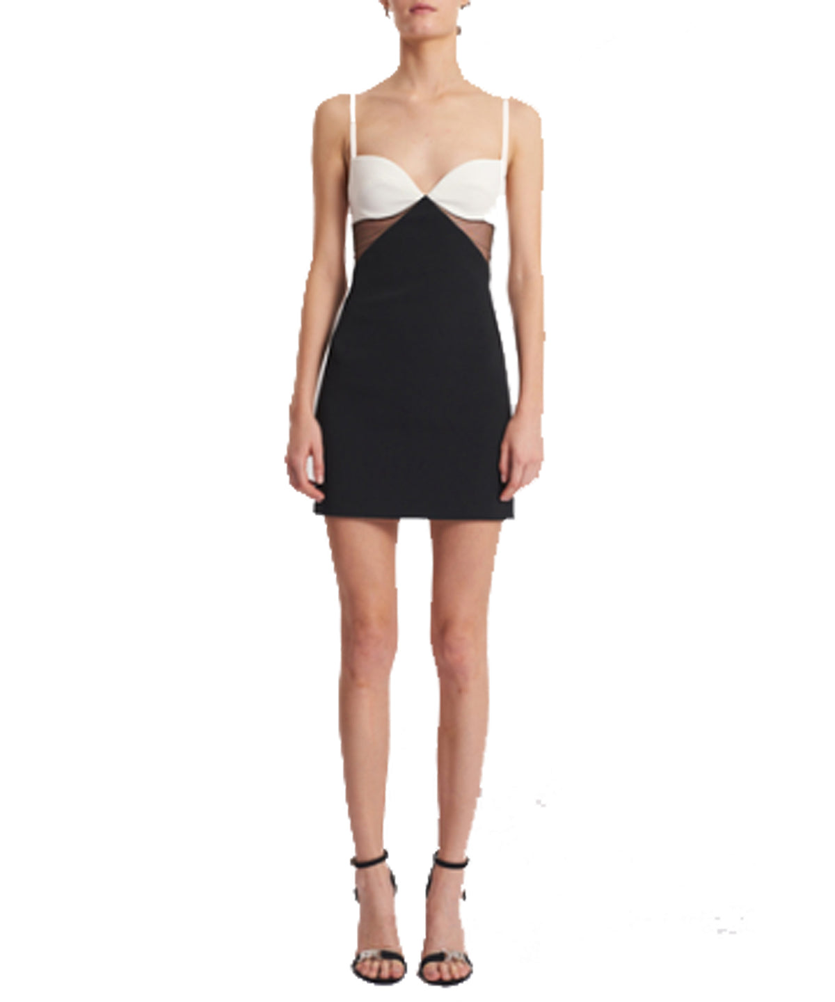 David Koma Two-Toned Net-Insert Mini Dress Black and White