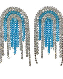 Zarqua Collection Tassel Women White and Turquoise Earrings