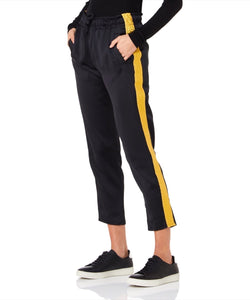 Arwa Al Banawi Side Women Black And Gold Sweatpants