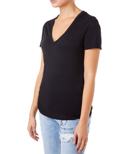 Cotton Citizen Classic V-Neck Women Black T-shirt