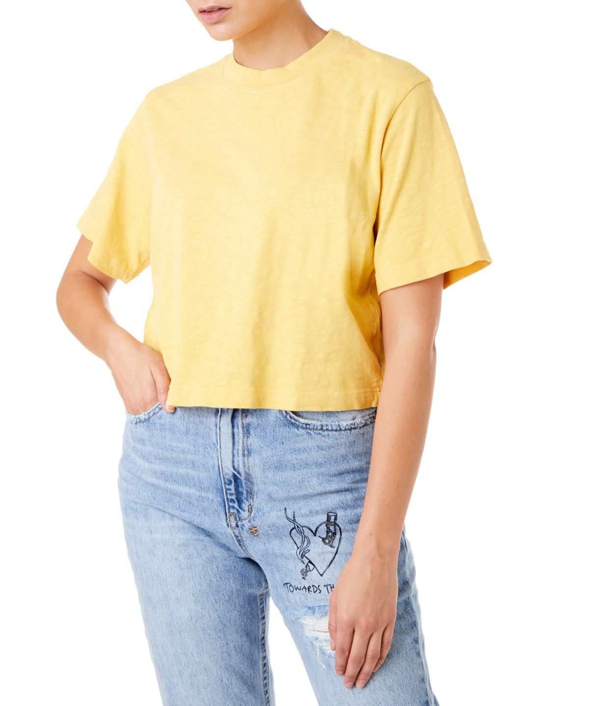 Cotton Citizen Tokyo Crop Women Yellow T-shirt