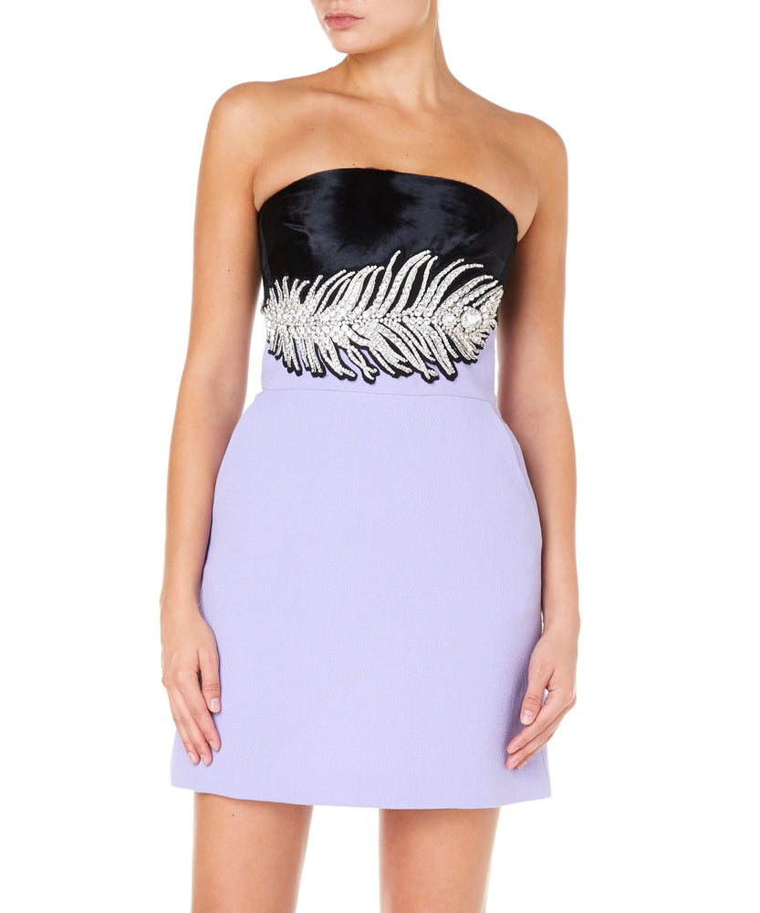 STRAPLESS DRESS WITH CRYSTAL FEATHER EMBROIDERY