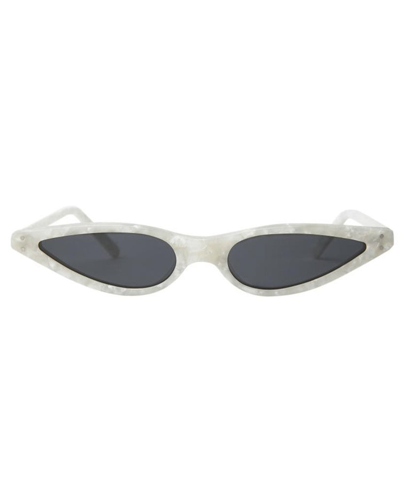 George Keburia Micro Cat-Eye Women White Sunglasses
