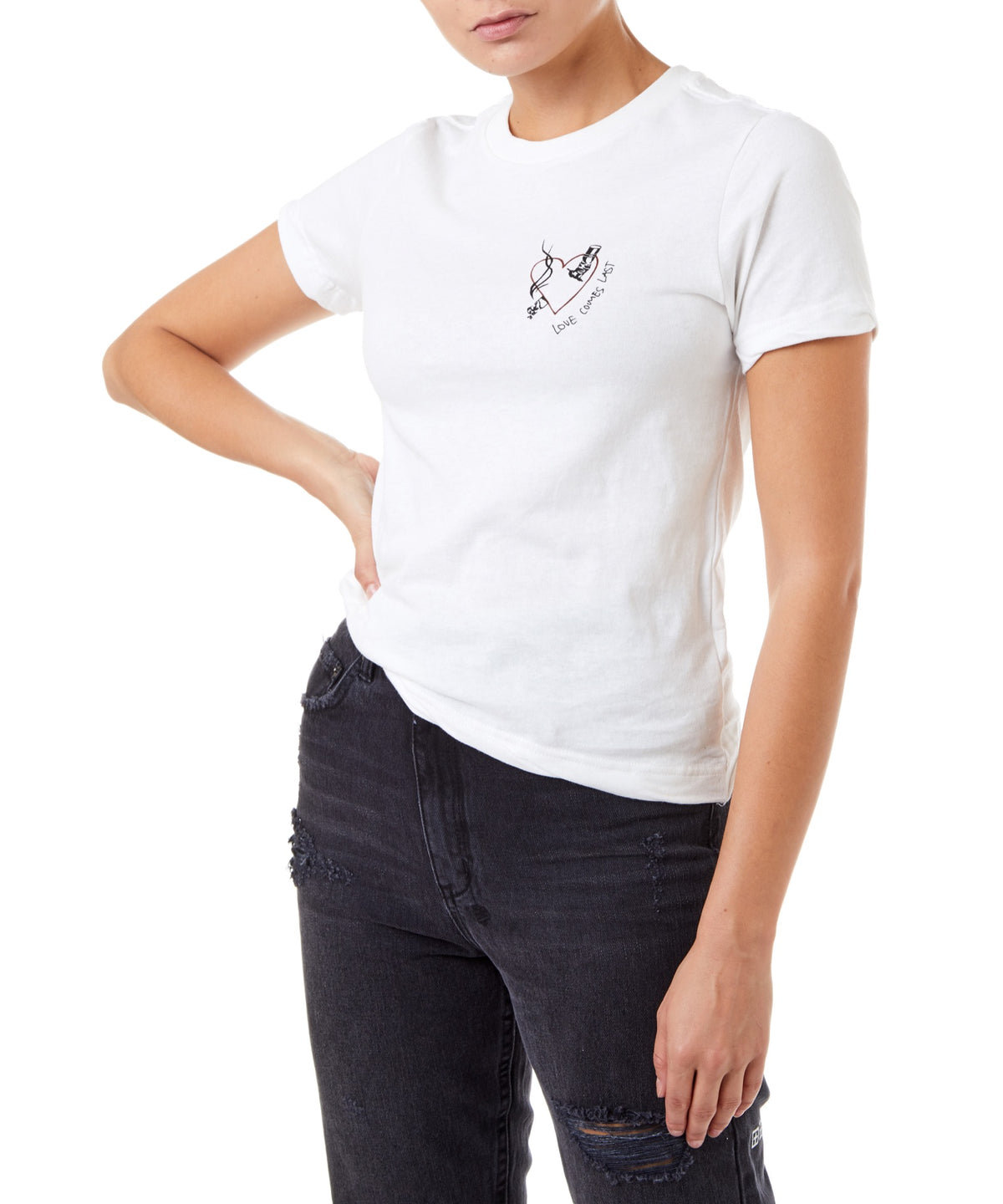 Ksubi Love Ash Tee Women White Distressed T-shirt