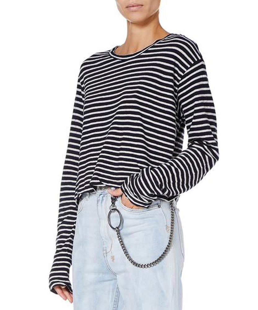 Ksubi Sinister Striped Long Sleeve Tee Women Black and White T-shirt
