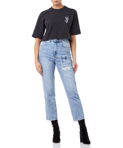 Ksubi Snake Dollar Crop Tee Women Black T-shirt