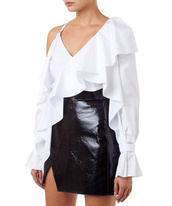 Mugler Asymmetric Ruffles Women White Top