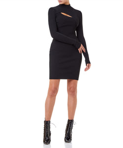 Cut Out Turtle Neck Dress