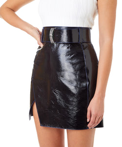 Varnish Leather Mini Skirt