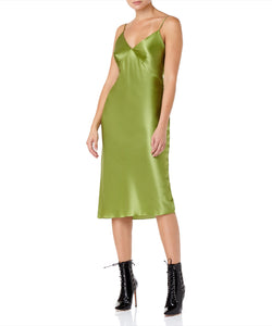 Olivia Von Halle Issa Matcha Slip Women Green Dress