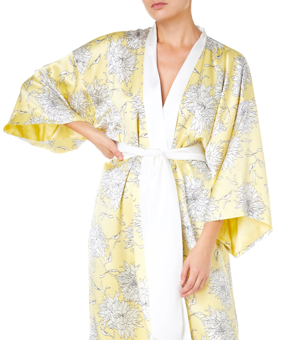 Olivia Von Halle Queenie Kira Full Length Women white and Yellow Robe