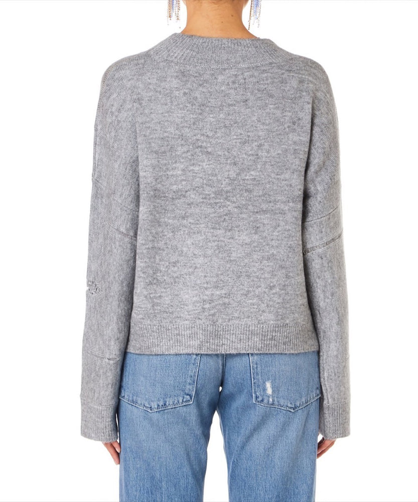 Rta Liam Oversize High Neck Women Grey Sweater