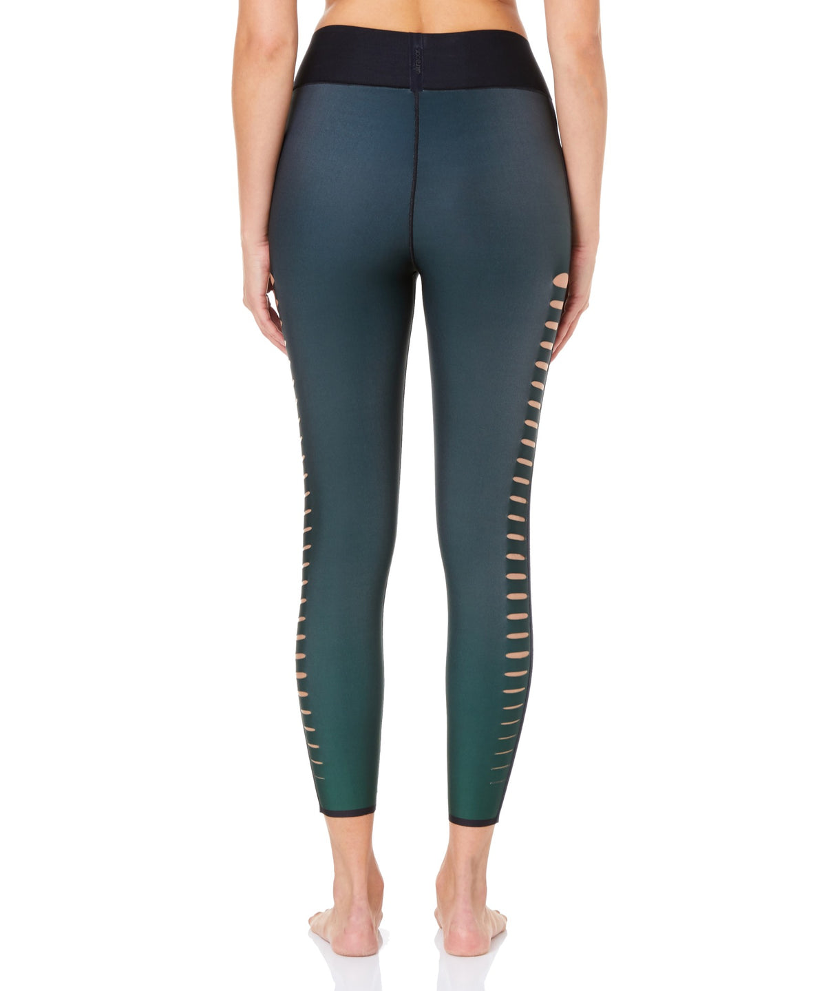 Ultracor Ultra High Gradient Velvet Slash Women Green Leggings