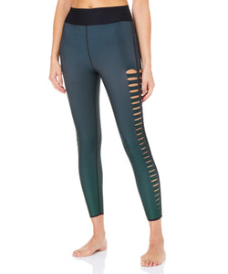 Ultra High Gradient Velvet Slash Leggings Emerald