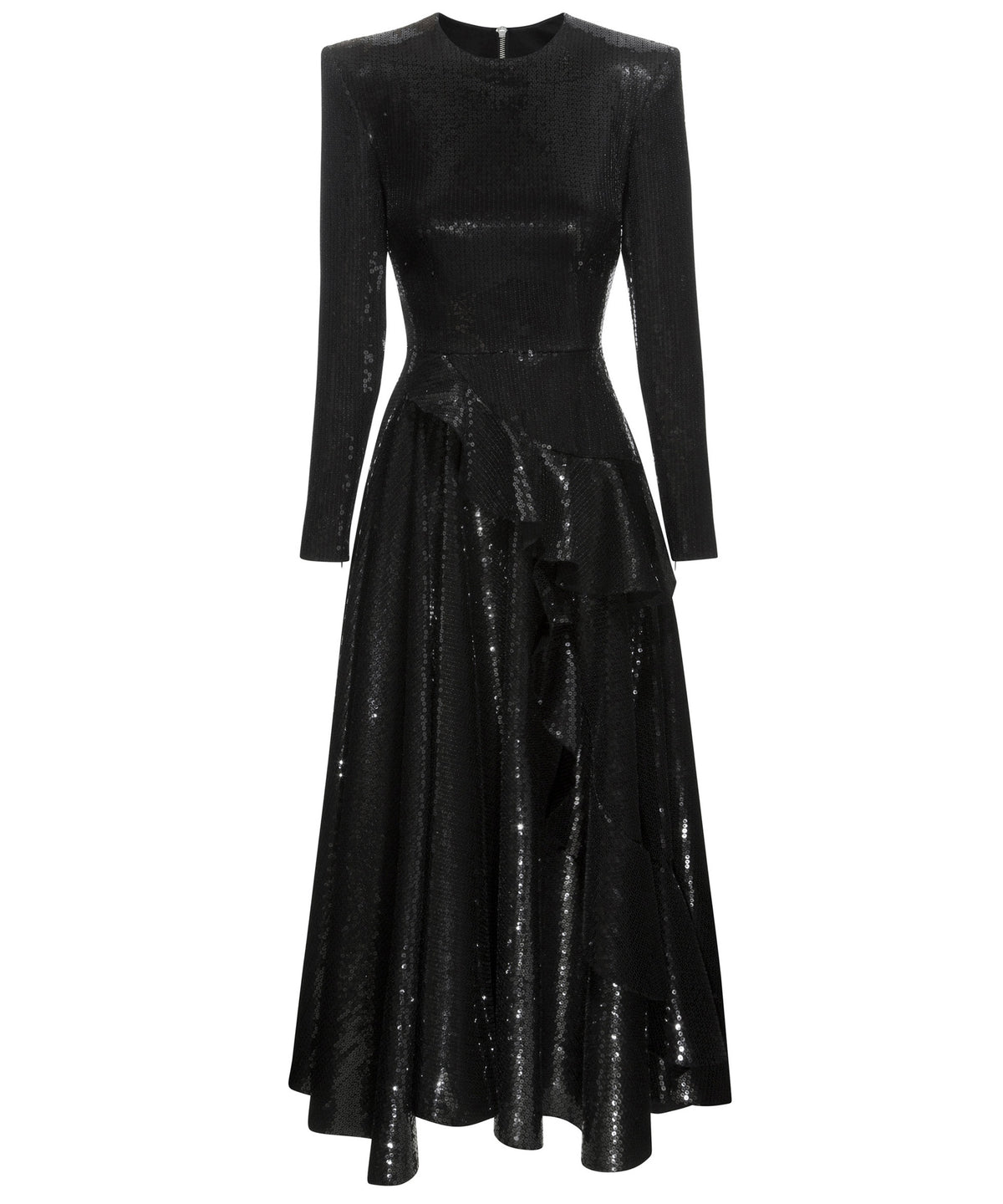 Alex Perry Regan Sequin Ruffle Midi Women Black Dress