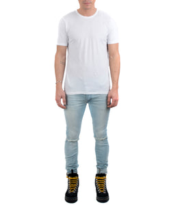 Men's Classic Crew Tee White-FRONT VIEW-THE BOX BOUTIQUE