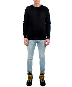 The Jackson Crewneck Black-FRONT VIEW-THE BOX BOUTIQUE