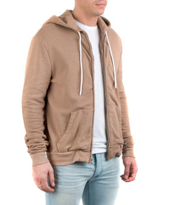 The Jackson Zip Hoodie Dark Tan-FRONT SIDE VIEW-THE BOX BOUTIQUE