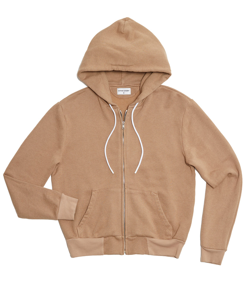 The Jackson Zip Hoodie Dark Tan-FRONT VIEW-THE BOX BOUTIQUE