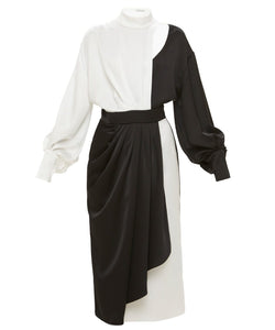 Dalood Women Black and White Silk and Crepe Dress