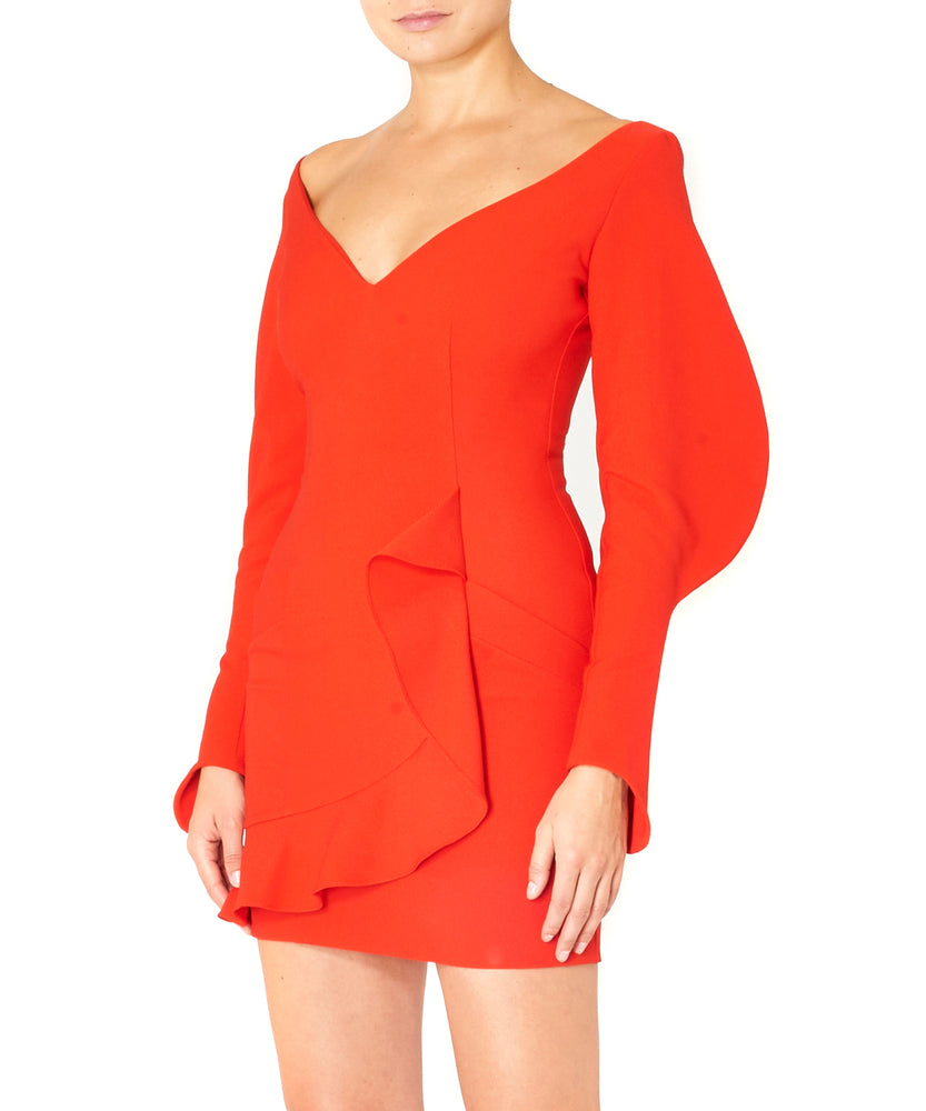 Dalood Women Mini Crepe Dress Red