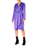 Dalood Women Silk Midi Dress with Belt Purple