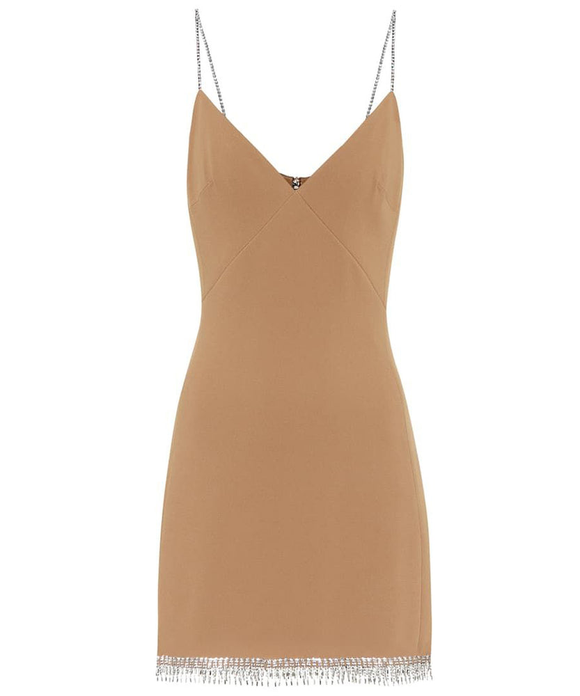 David Koma Women Embellished Beige Crepe Mini Dress