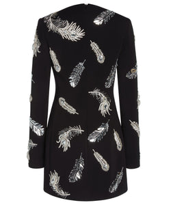 DRESS WITH PLEXI AND CRYSTALS FEATHERS EMBROIDERY