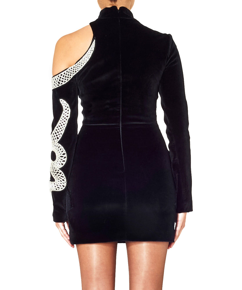 David Koma Women Velvet Mini Dress With Snake Embroidery