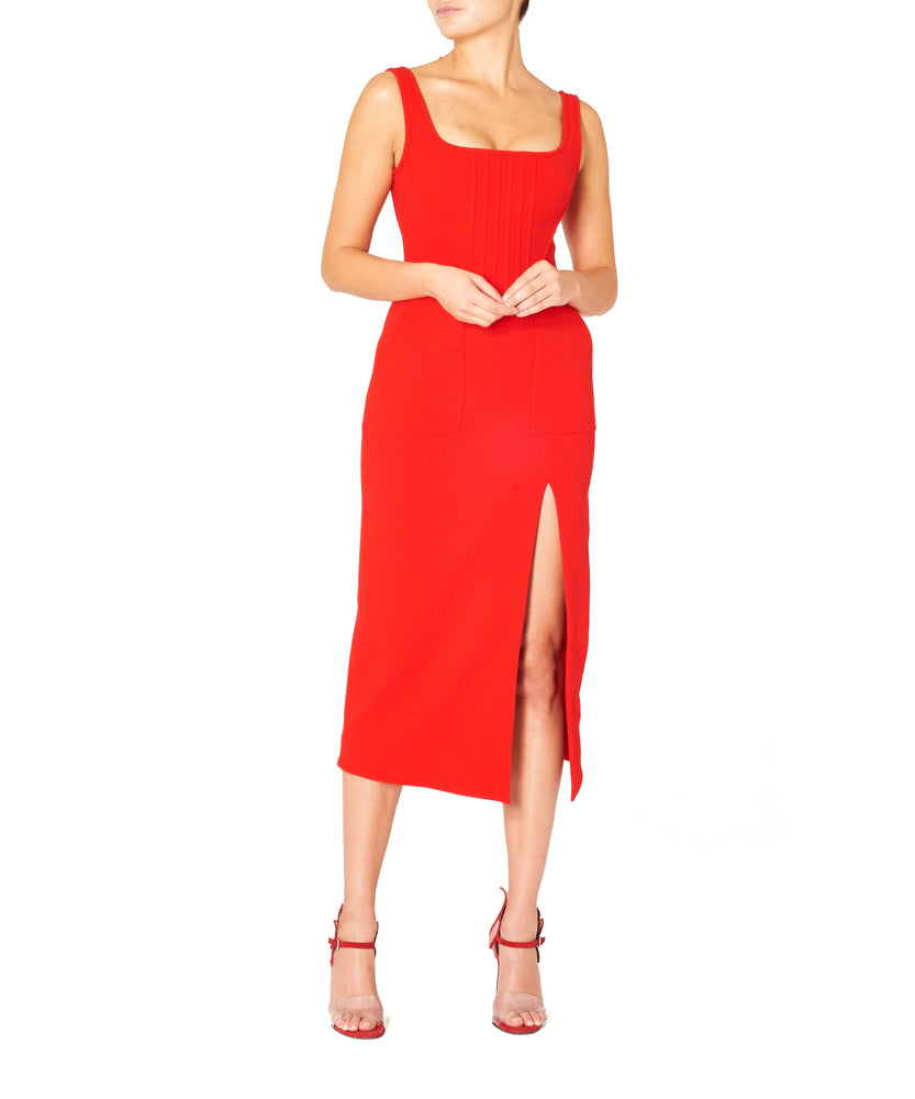 David Koma Women Wool Crepe Midi Dress with Boning Detail Red