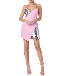 SEQUIN PANELS ASYMMETRIC DRESS