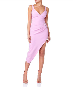 Sweetheart Neckline Crystals and Ruching Midi Dress