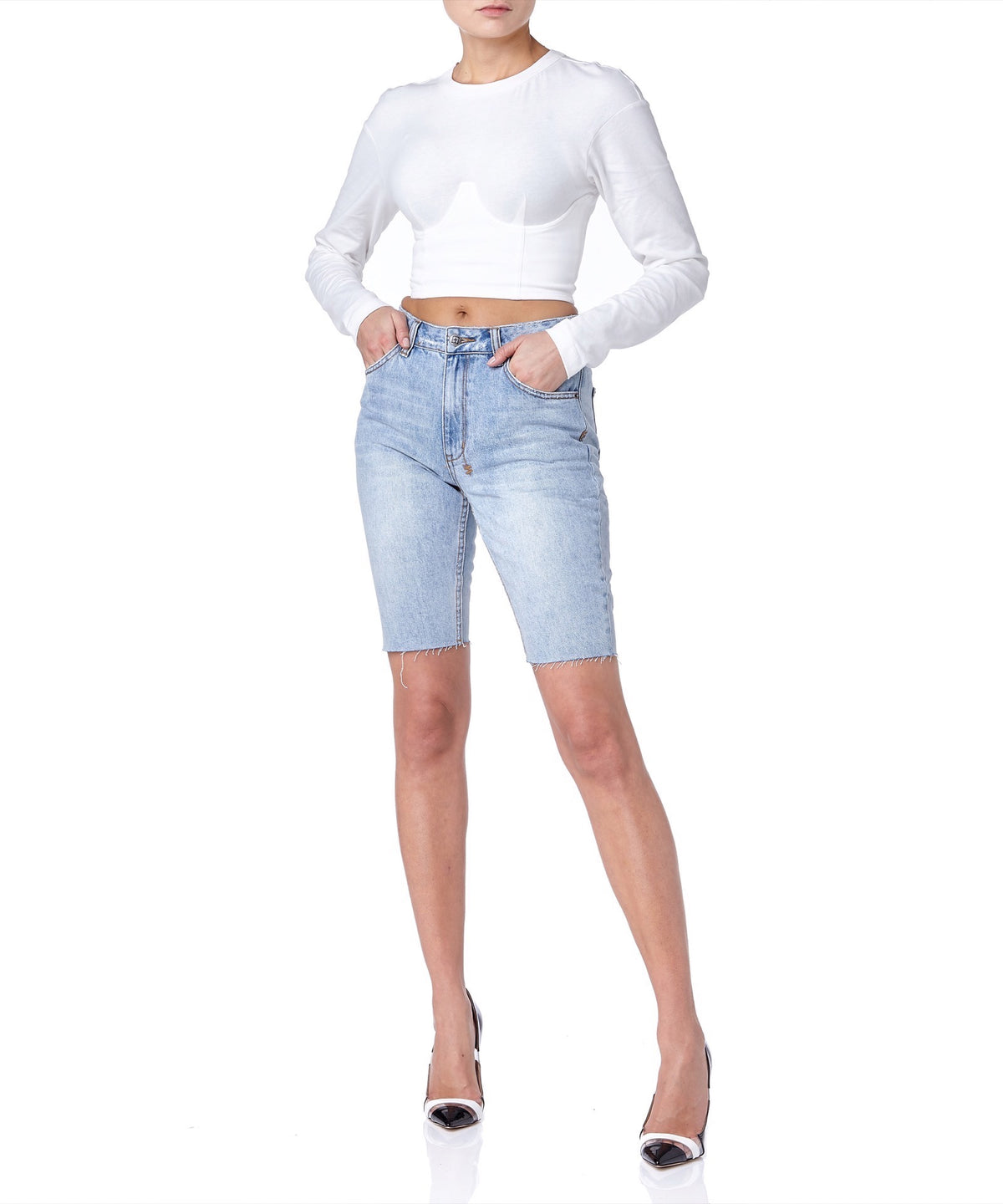 Ksubi App-Laye Women Blue Denim Shorts