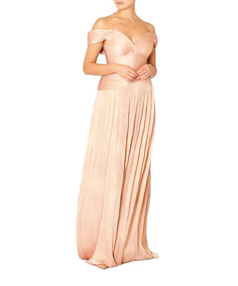 Maria Lucia Hohan Women Niabi Metallic Tulle Silk Dress Pink Moss
