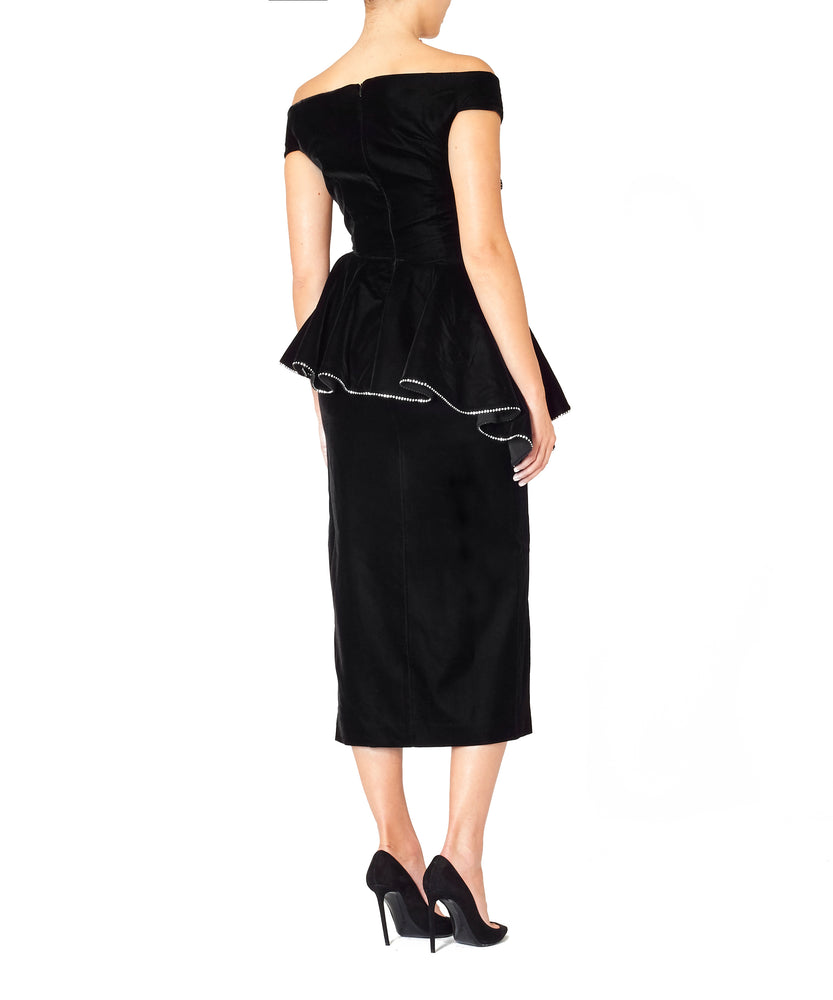 Marianna Senchina Women La Scala Black Dress with Crystal Edging