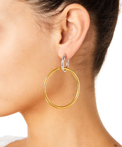Maria Stern Rhodium Women Gold And Silver Earrings