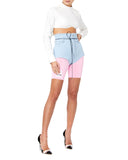 TTSWTRS Denim Women Blue Bootie Shorts