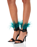 Zarqua Collection Feathers Women Black Silk Sandals