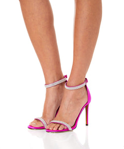 Fuchsia Satin and Crystal Sandal